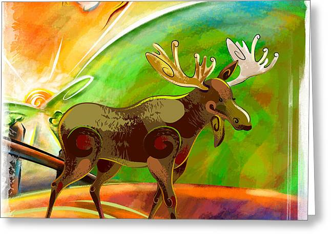Moose At Dawn Greeting Card
