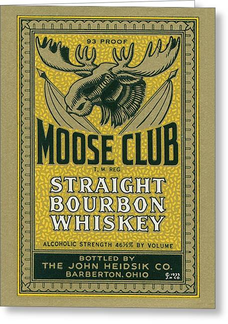Moose Club Bourbon Label Greeting Card
