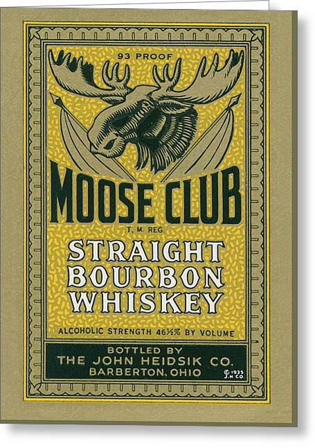 Moose Club Bourbon Label Greeting Card by Tom Mc Nemar