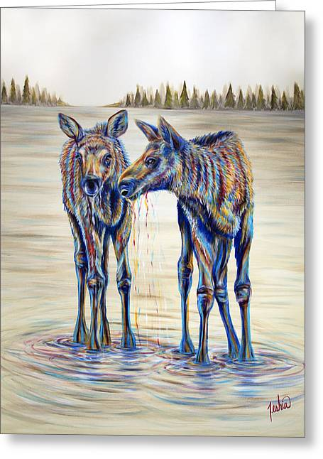 Moose Gathering, 2 Piece Diptych- Piece 2- Right Panel Greeting Card by Teshia Art