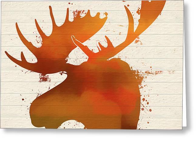 Moose Head Autumn Paint Greeting Card