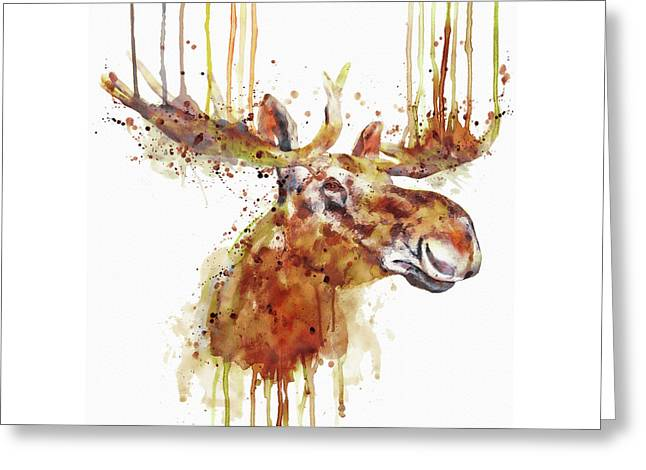 Moose Head Greeting Card by Marian Voicu