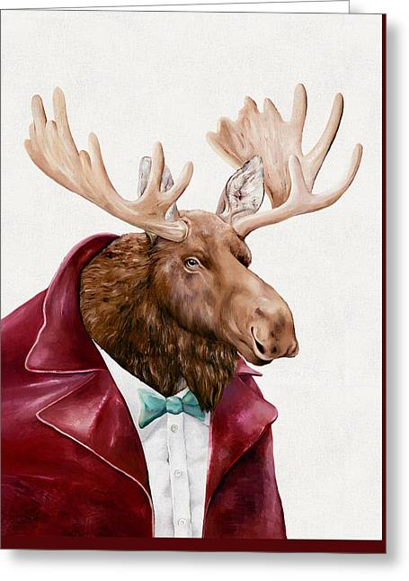 Moose In Maroon Greeting Card by Animal Crew