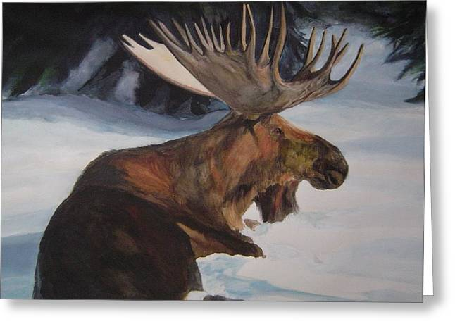 Moose In Winter Greeting Card by Susan Tilley