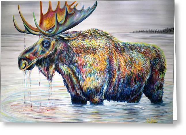 Moose Island Greeting Card by Teshia Art