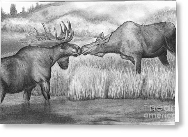 Moose Looking For Love Greeting Card by Russ  Smith