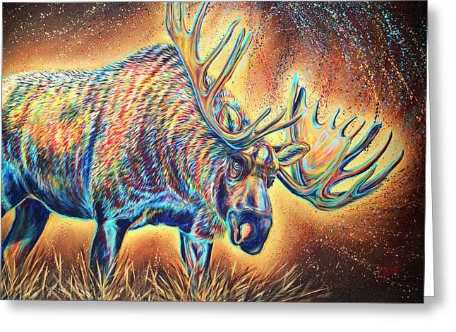 Moose Madness Greeting Card by Teshia Art