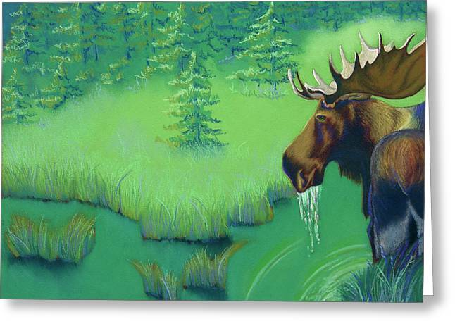 Hunter Pastels Greeting Cards - Moose Greeting Card by Tracy L Teeter