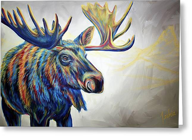 Moose'n Around Greeting Card by Teshia Art