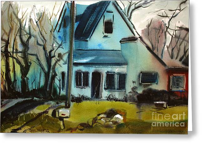 Greeting Card featuring the painting Moppity's House Matted Framed Glassed by Charlie Spear