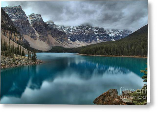 Moraine Emerald Reflections Greeting Card by Adam Jewell