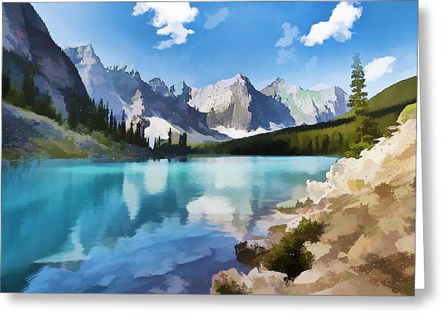 Moraine Lake At Banff National Park Greeting Card by Lanjee Chee