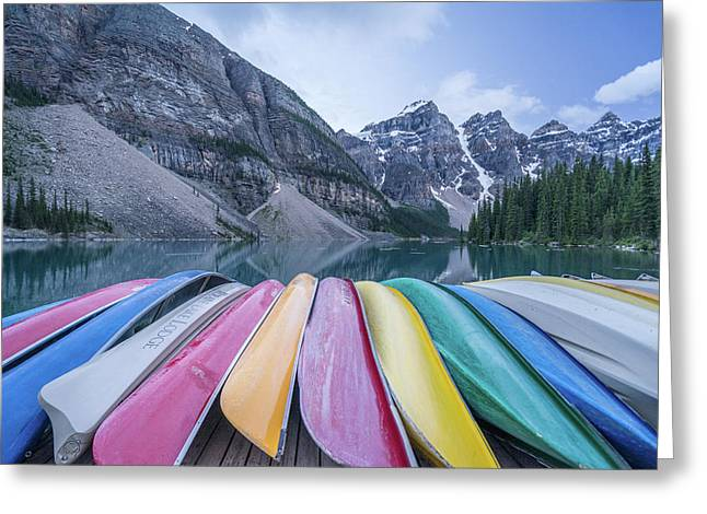 Moraine Lake Colors Greeting Card by Alpha Wanderlust