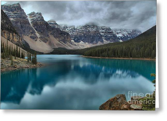 Moraine Lake Emerald Morning Greeting Card by Adam Jewell