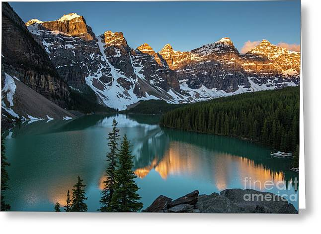 Moraine Lake Golden Sunrise Reflection Greeting Card