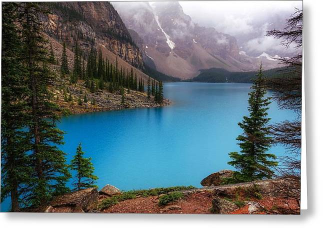 Moraine Lake Greeting Card by Heather Vopni