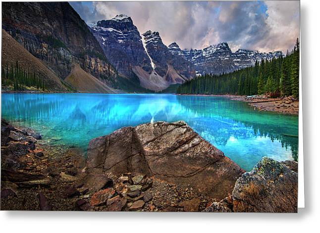 Greeting Card featuring the photograph Moraine Lake by John Poon