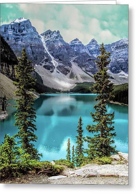 Moraine Lake Greeting Card by Lynn Bolt