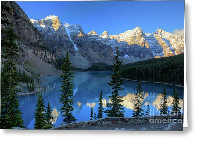 Moraine Lake Sunrise Blue Skies Greeting Card