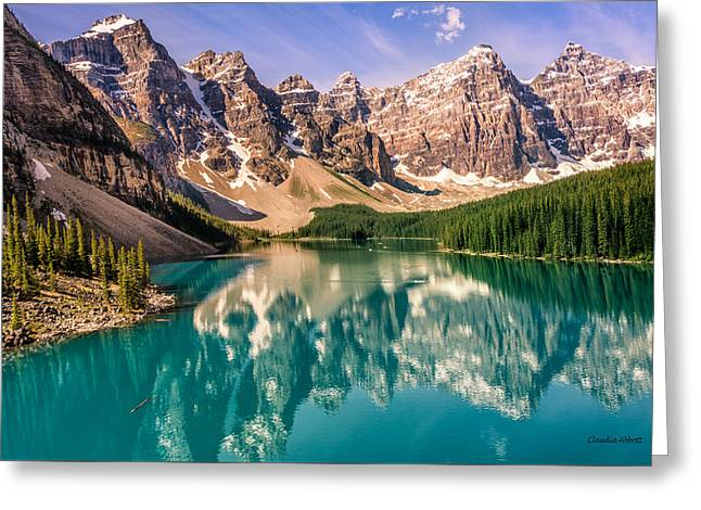 Greeting Card featuring the photograph Moraine Lake Valley Of The Ten Peaks by Claudia Abbott