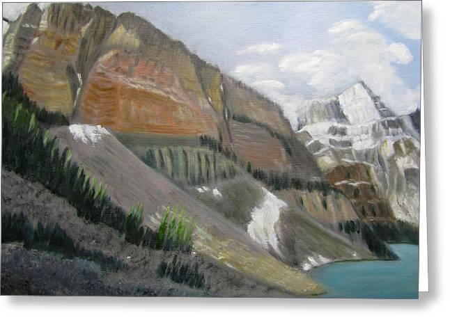 Greeting Card featuring the painting Valley Of The Ten Peaks by Linda Feinberg