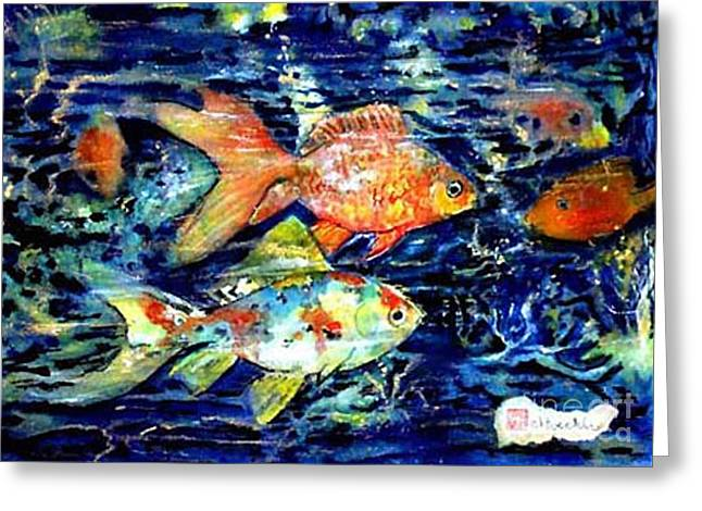 More Gold Fish Greeting Card by Norma Boeckler