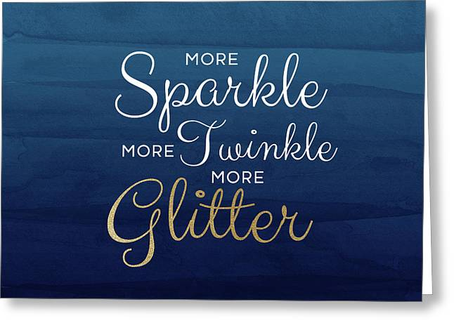 More Sparkle Blue- Art By Linda Woods Greeting Card