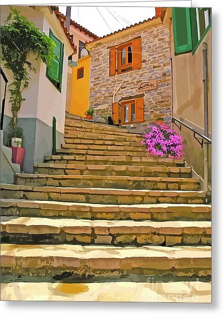 More Steps In Santorini Greeting Card