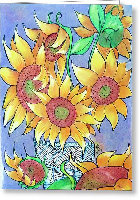 More Sunflowers Greeting Card by Loretta Nash