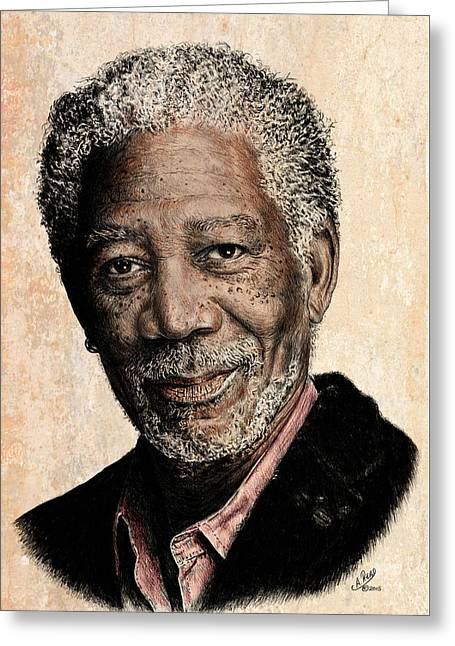 Morgan Freeman Colour Edit Greeting Card by Andrew Read
