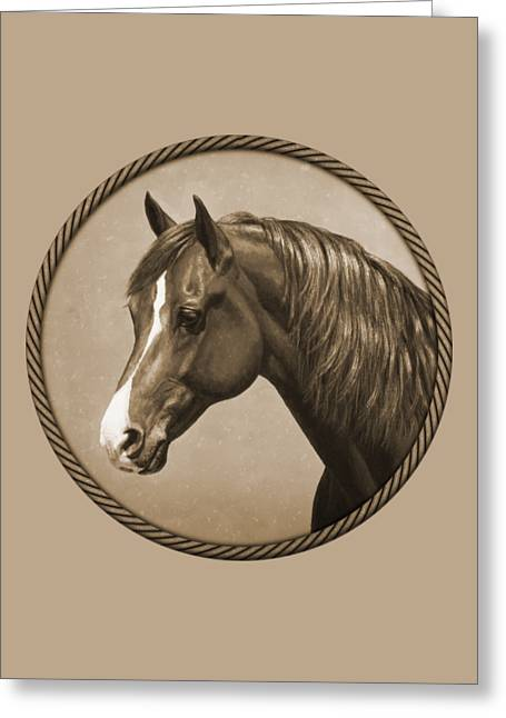 Chestnut Horse Greeting Cards - Morgan Horse Phone Case in Sepia Greeting Card by Crista Forest
