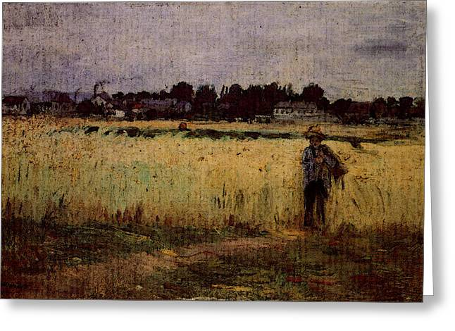 Morisot Berthe In The Wheat Fields At Gennevilliers Greeting Card