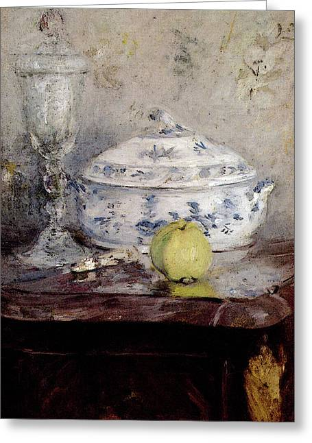 Morisot Berthe Tureen And Apple Greeting Card by Berthe Morisot