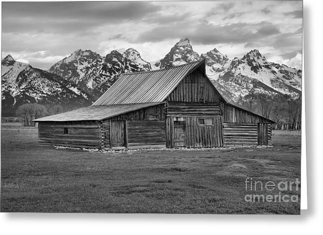Mormon Homestead Barn Black And White Greeting Card by Adam Jewell