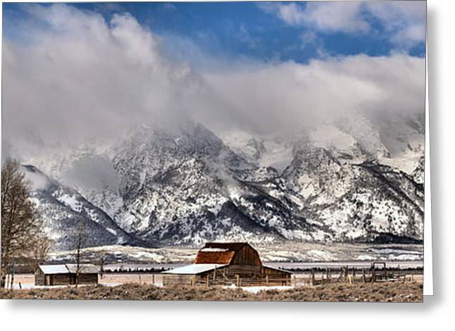 Greeting Card featuring the photograph Mormon Row Early Winter Panorama by Adam Jewell