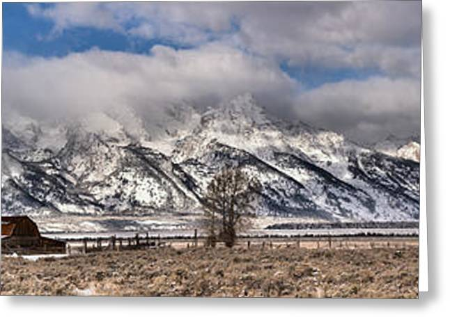 Greeting Card featuring the photograph Mormon Row Extended Panorama by Adam Jewell