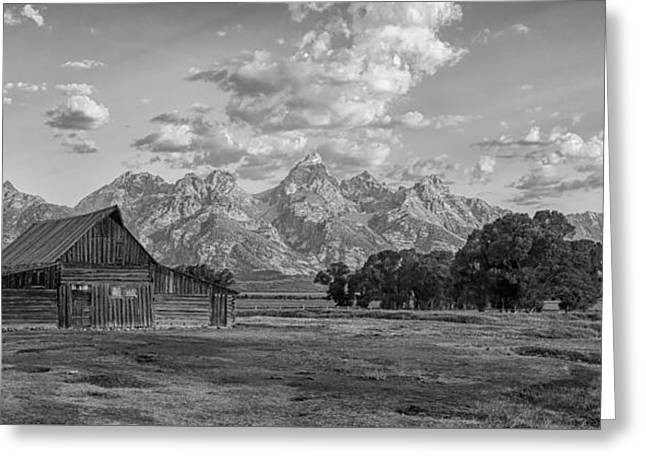 Mormon Row Farm In Black And White Greeting Card by Andres Leon