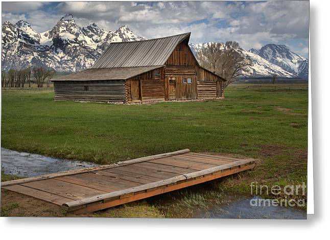 Mormon Row Water Crossing Greeting Card by Adam Jewell