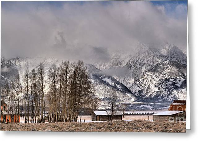 Greeting Card featuring the photograph Mormon Row Winter Morning Panorama by Adam Jewell