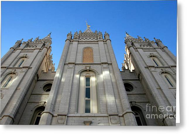 Mormon Temple Greeting Card by David Lee Thompson