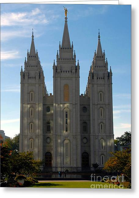 Mormon Temple Fall Greeting Card by David Lee Thompson