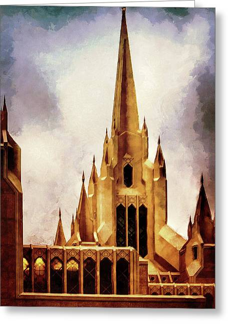 Mormon Temple Steeple Greeting Card by Joseph Hollingsworth