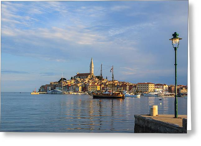Morning Aquarelle In Rovinj Greeting Card by Davorin Mance