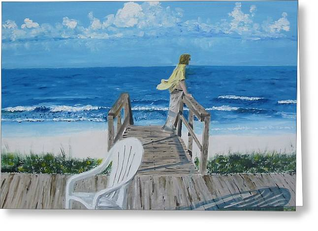 Morning At Blue Mountain Beach Greeting Card by John Terry