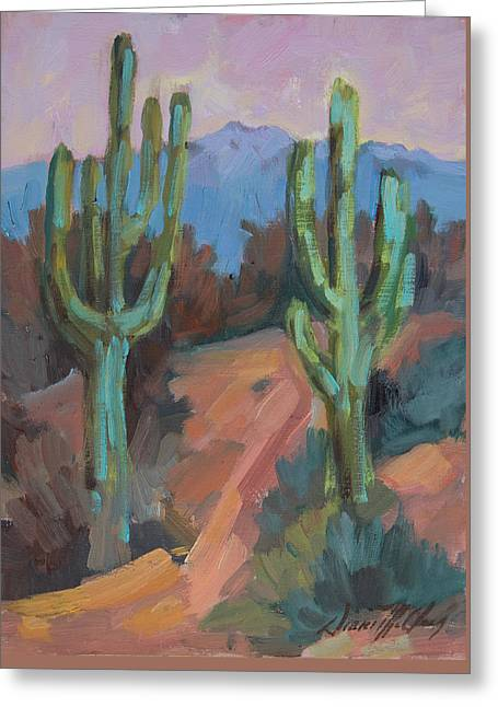 Greeting Card featuring the painting Morning At Fort Apache by Diane McClary
