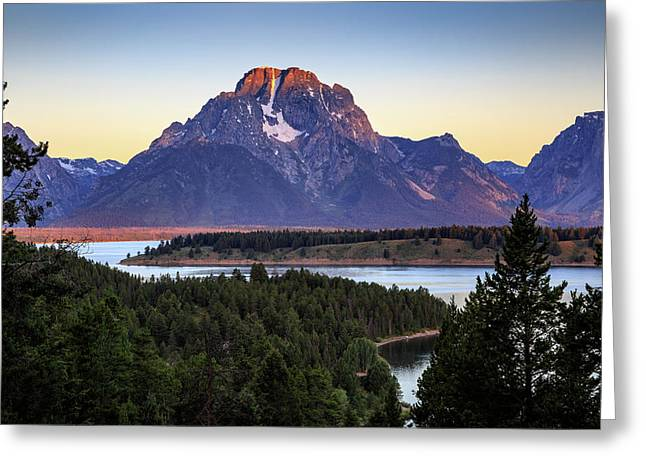 Greeting Card featuring the photograph Morning At Mt. Moran by David Chandler