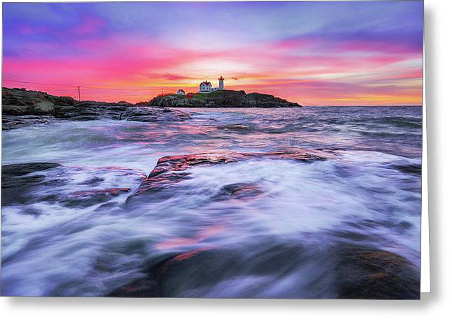 Morning At Nubble Light Greeting Card by Robert Clifford