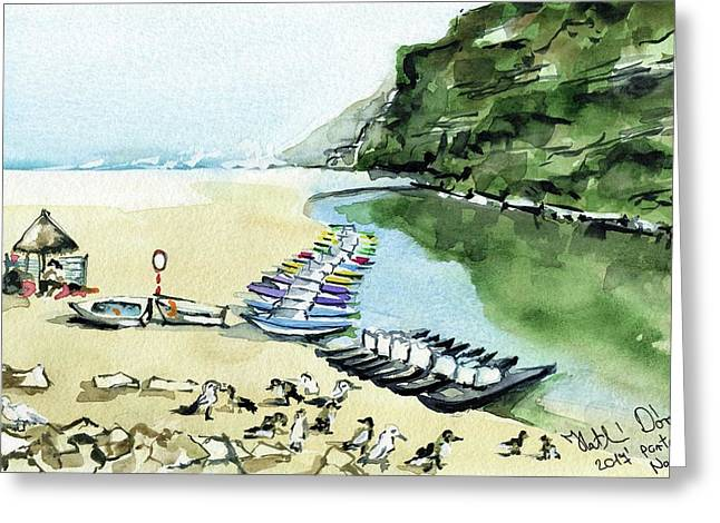 Greeting Card featuring the painting Morning At Porto Novo Beach by Dora Hathazi Mendes