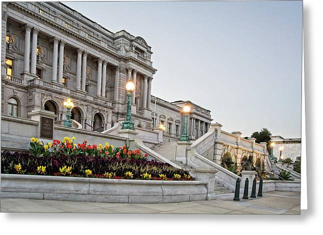 Morning At The Library Of Congress Greeting Card by Greg Mimbs