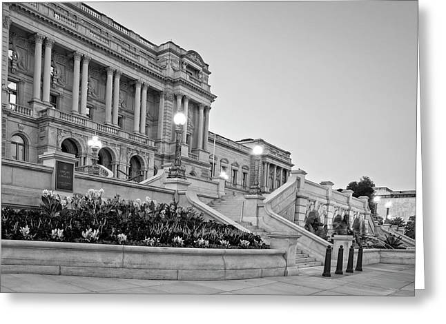 Morning At The Library Of Congress In Black And White Greeting Card by Greg Mimbs